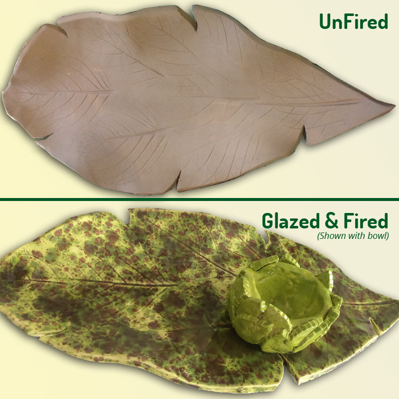 Hand made ceramic platter shaped like a leaf - fired and unfired
